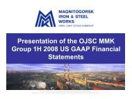 Presentation of the OJSC MMK Group 1H 2008 US GAAP Financial ...