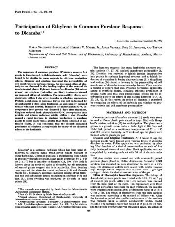 Participation of Ethylene in Common Purslane ... - Plant Physiology