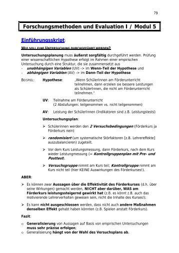 Forschungsmethoden und Evaluation I / Modul 5 Einführungsskript