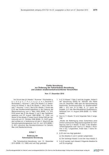 Fünfte Verordnung zur Änderung der Fahrerlaubnis-Verordnung ...