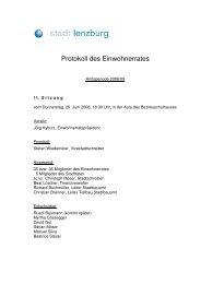 Protokoll 11. Sitzung des Einwohnerrates - Lenzburg