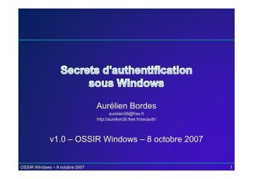 Secrets d'authentification sous Windows - OSSIR
