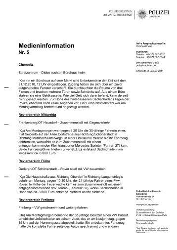 Medieninformation Nr. 5 - Polizei Sachsen
