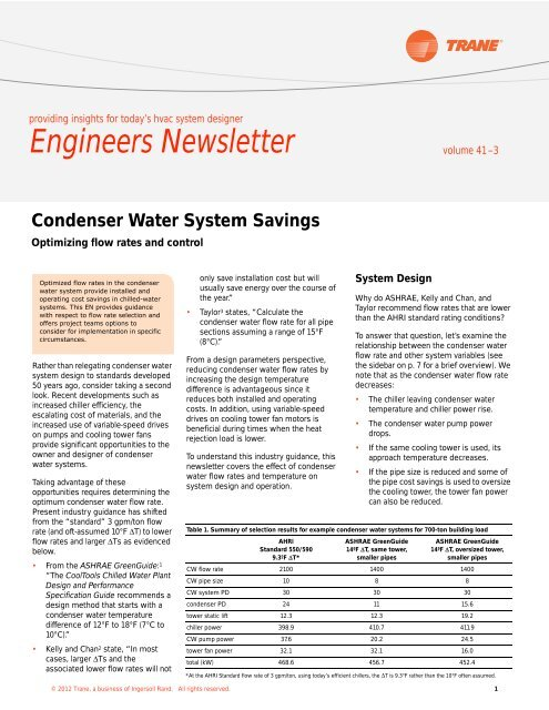 Condenser Water System Savings: Optimizing flow rates and