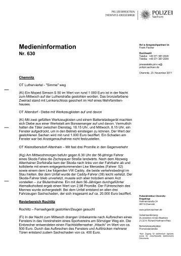 Medieninformation Nr. 630 - Polizei Sachsen