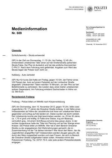 Medieninformation Nr. 609 - Polizei Sachsen