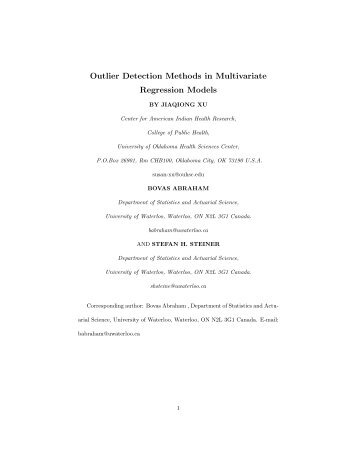 Outlier Detection Methods in Multivariate Regression Models