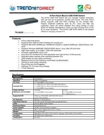 Features 8-Port Rack Mount USB KVM Switch