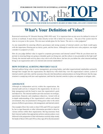 What's Your Definition of Value? - Global Institute of Internal Auditors