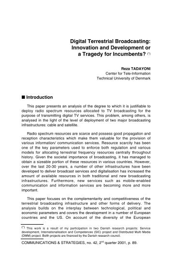 Digital Terrestrial Broadcasting: Innovation and Development or a ...