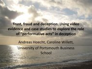 Trust, fraud and deception - University of Portsmouth