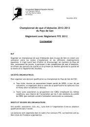 Règlement du championnat de saut d'obstacles 2012 / 2013