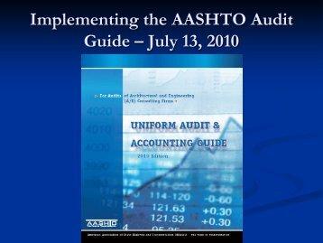 Implementation of a New AASHTO Audit Guide (Bruce/Jones)