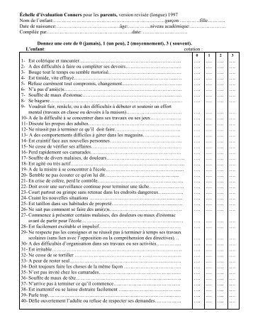 Conners parents - TDA/H Belgique