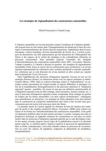 Les stratégies de régionalisation des ... - Michel Freyssenet