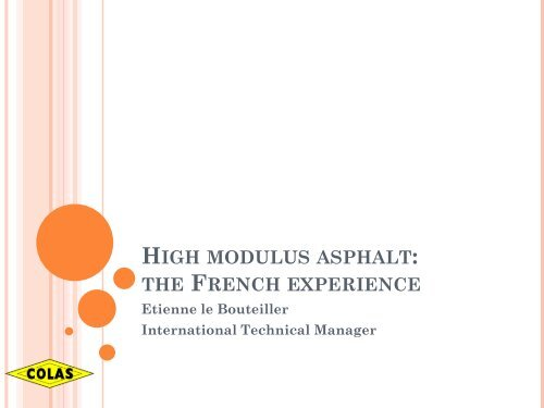 High modulus asphalt: the French experience - Aapaq.org