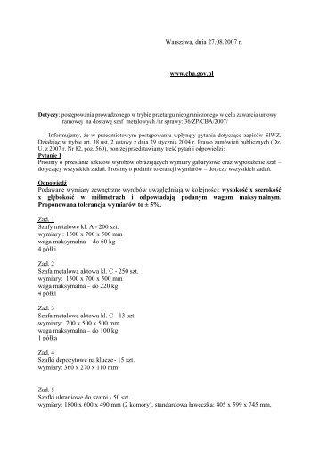 27.08.2007 - Pytania i odpowiedzi do SIWZ - CBA
