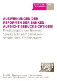 AUSWIRKUNGEN DER REFORMEN DER BANKEN- AUFSICHT ...