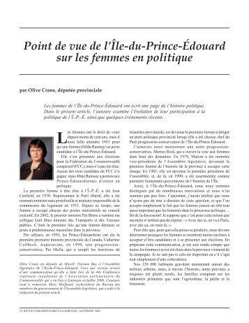 Point de vue de l'Île-du-Prince-Édouard sur les femmes en politique