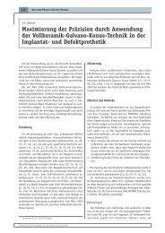 Maximierung der Präzision durch Anwendung ... - Zahnheilkunde.de
