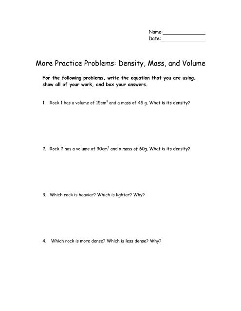 density practice problems with answers