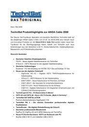 TechniSat Produkthighlights zur ANGA Cable 2008 - PresseBox