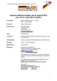 21. April 2013 in Berlin - Deutsche Bowling Union