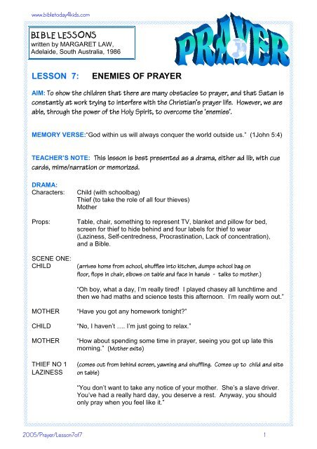 enemies of prayer - Free Bible Lessons - Home
