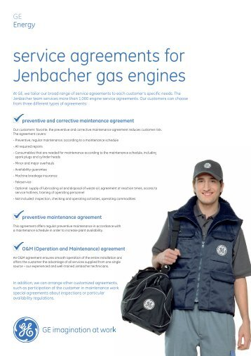 service agreements for Jenbacher gas engines