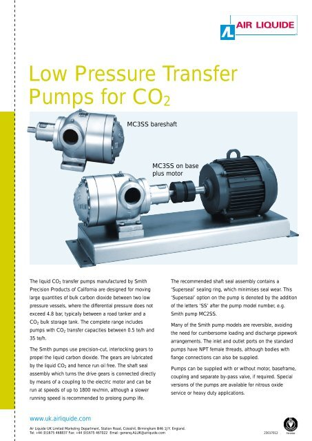 Low Pressure Transfer Pumps for CO2 - Air Liquide UK