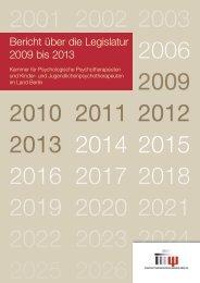 Bericht über die Legislatur 2009 bis 2013