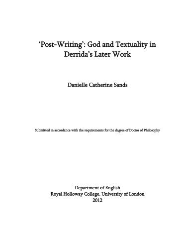 D C Sands PhD Thesis - Royal Holloway, University of London