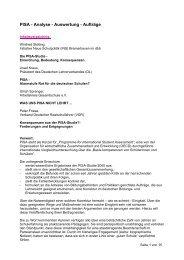 PISA - Analyse - Auswertung - Aufträge - [DBB] - Landesbund Bremen