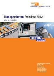 Transportbeton Preisliste 2012 - TBF Öhringen