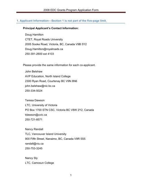 2008 EDC Grants Program Application Form 1 1  Applicant