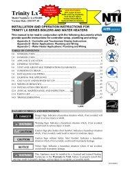 Trinity Lx Installation and Operation Manual - NY Thermal Inc.