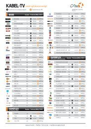 Frekvensliste for Kabel-TV - ComX