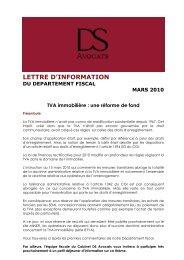 LETTRE D'INFORMATION DU DEPARTEMENT ... - DS Avocats