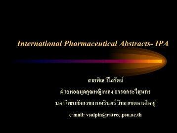 International Pharmaceutical Abstracts- IPA - สำนักทรัพยากรการเรียนรู้ ...