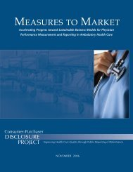 MEASURES TO MARKET - Consumer-Purchaser Disclosure Project