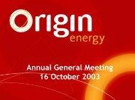 AGM presentation - Origin Energy