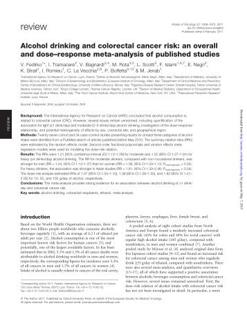 Alcohol drinking and colorectal cancer risk - IAS