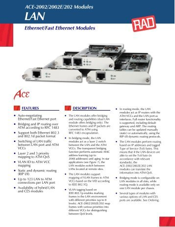 ACE-2002/2002E/202 Modules Ethernet/Fast Ethernet Modules