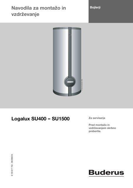 Navodila Logalux SU 400-1000l - Buderus