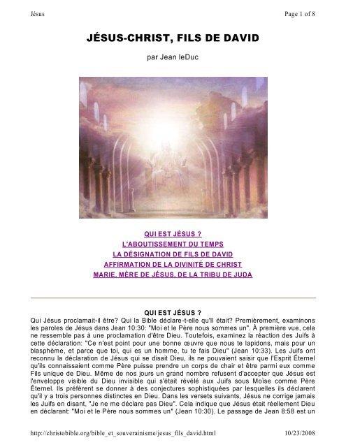 JÉSUS-CHRIST, FILS DE DAVID - GoDieu.com
