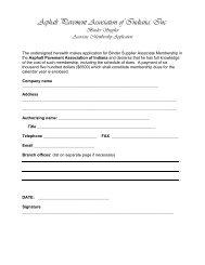 Asphalt Pavement Association of Indiana, Inc. Binder Supplier ...
