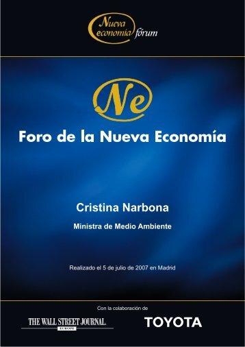 Cristina Narbona Ministra de Medio Ambiente - Nueva Economía Fórum