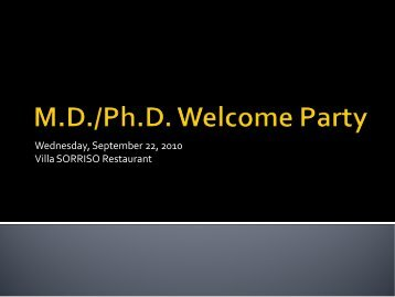 MD/PhD Welcome Party 2010 Pictures - Curriculum Home Page