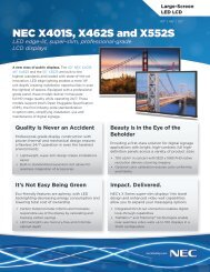 NEC X401S, X462S and X552S - NEC Display Solutions