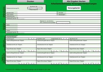 I 8582 - Arbeitsmedizinische Vorsorgeuntersuchung - Vorsorgekartei